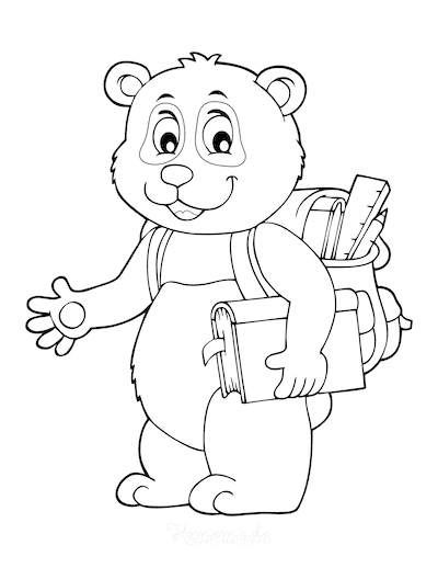 Fall Coloring Pages Back to School Cute Bear