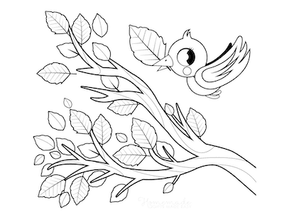 Fall Coloring Pages Bird Tree Branch Fall Leaves