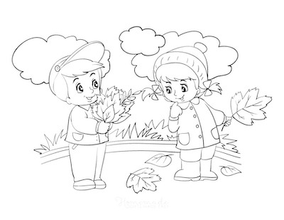 Fall Coloring Pages Boy Girl Collecting Fallen Leaves