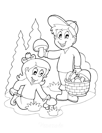 Fall Coloring Pages Boy Girl Foraging for Mushrooms
