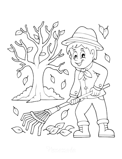 Fall Coloring Pages Boy Raking Fallen Leaves