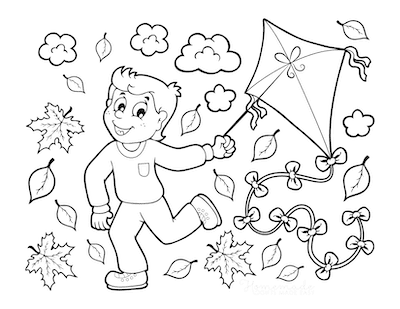 Fall Coloring Pages Boy Running Through Leaves Flying Kite