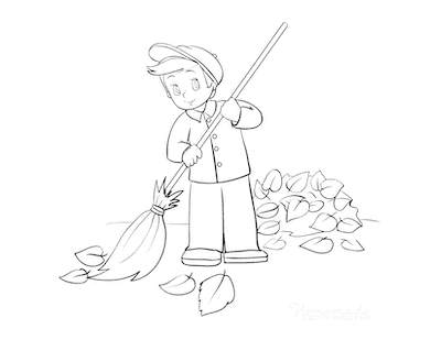 Fall Coloring Pages Boy Sweeping Fallen Leaves