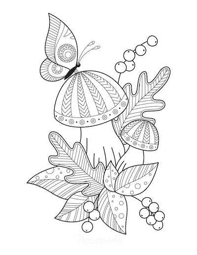 Fall Coloring Pages Butterfly Mushrooms Fallen Leaves