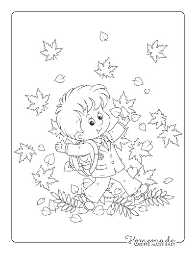 Fall Coloring Pages Child Walking Through Leaves