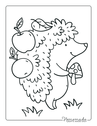 Fall Coloring Pages Cute Autumn Hedgehog Apples Mushrooms