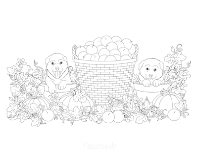 Fall Coloring Pages Cute Dogs Apple Pumpkin Harvest