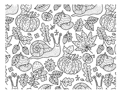 Fall Coloring Pages Cute Fall Doodle Snail Leaves Mushrooms for Adults