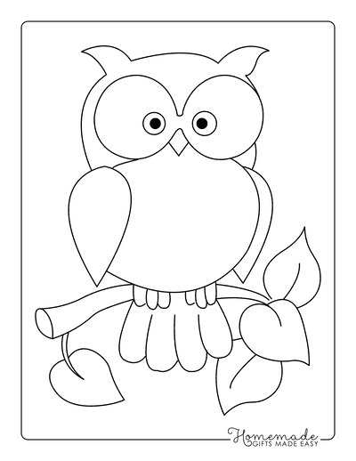 Fall Coloring Pages Cute Owl in Tree Preschoolers