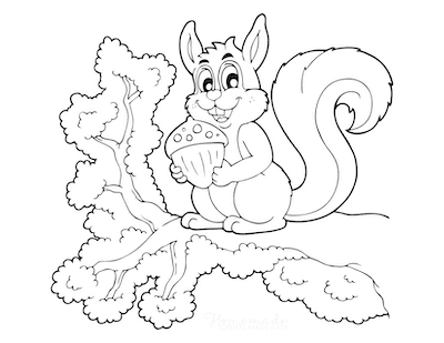 Fall Coloring Pages Cute Squirrel With Nut