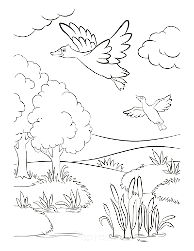 Fall Coloring Pages Ducks Flying Near Lake