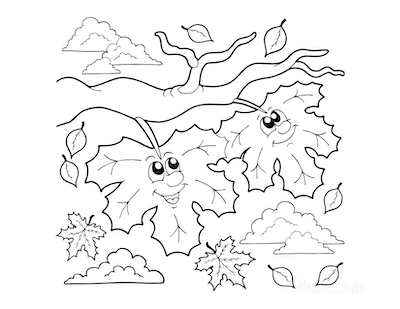 Fall Coloring Pages Falling Leaves for Preschoolers
