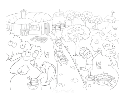 Fall Coloring Pages Family Harvesting Apples