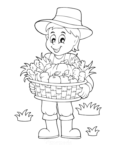 Fall Coloring Pages Farmer With Basket of Vegetables Harvest