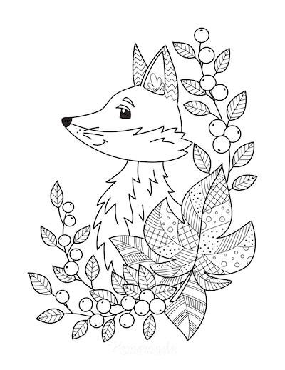 Fall Coloring Pages Fox Fallen Leaves Berries for Adults