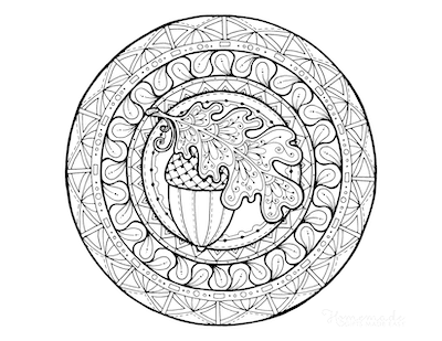Fall Coloring Pages Girl Acorn Mandala for Adults