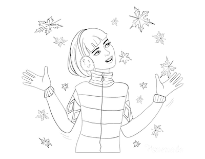 Fall Coloring Pages Girl Standing in the Falling Leaves