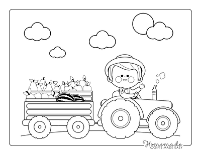 Fall Coloring Pages Harvest Tractor Farm