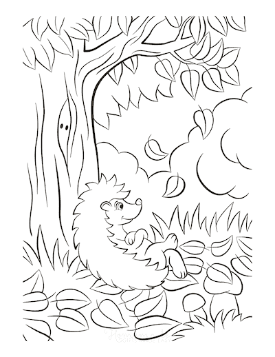 Fall Coloring Pages Hedgehog Falling Leaves Mushrooms