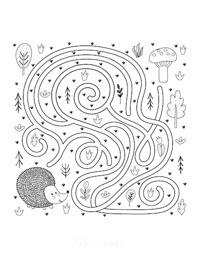 Fall Coloring Pages Hedgehog Find Mushrooms Maze