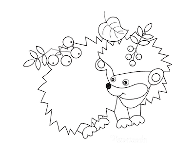 Fall Coloring Pages Hedgehog Leaf Berries for Toddlers