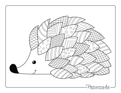 Fall Coloring Pages Hedgehog Patterned to Color