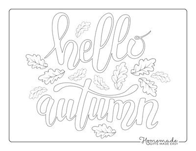 Fall Coloring Pages Hello Autumn Fall Leaves