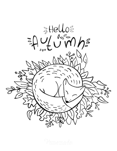 Fall Coloring Pages Hello Autumn Fox Sleeping in Leaves