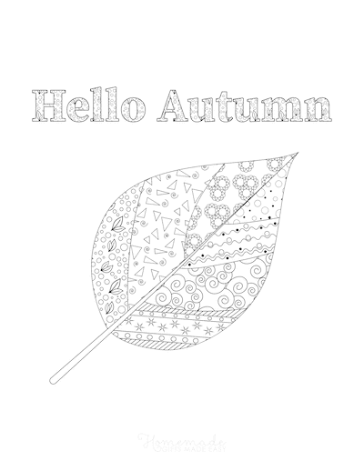 Fall Coloring Pages Hello Autumn Leaf Doodle for Adults