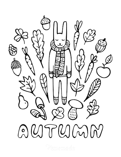 Fall Coloring Pages Hello Autumn Rabbit in Scarf