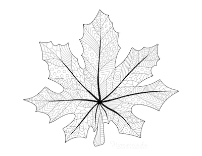 Fall Coloring Pages Maple Leaf Doodle for Adults