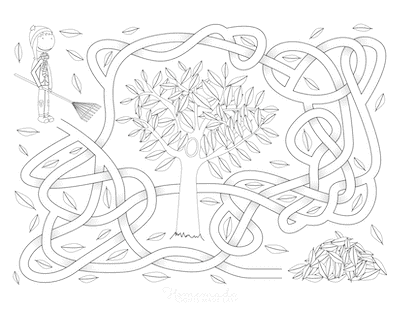 Fall Coloring Pages Maze Activity Sheet Rake Leaves