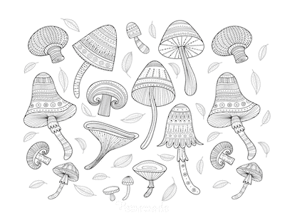 Fall Coloring Pages Patterned Mushrooms for Adults to Color