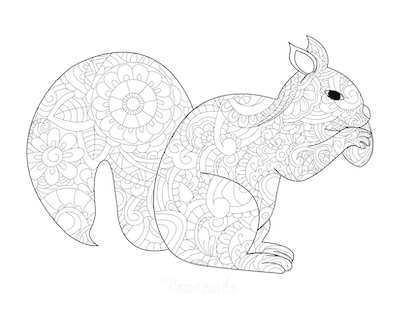 Fall Coloring Pages Patterned Squirrel With Acorn for Adults