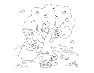 Fall Coloring Pages Picking the Apples Mother Child