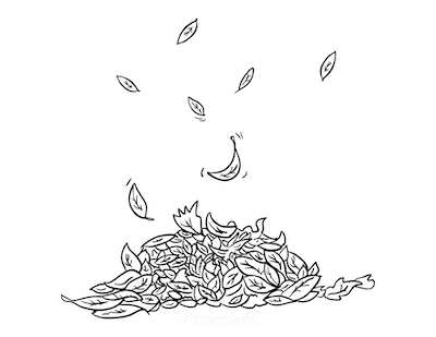 Fall Coloring Pages Girl Pile of Fallen Leaves