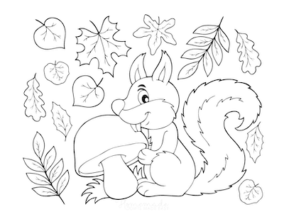 Fall Coloring Pages Squirrel With Mushroom Falling Leaves