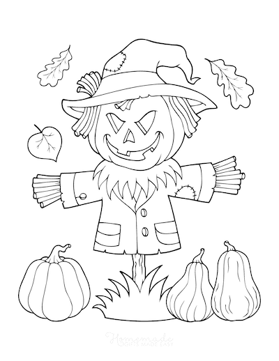 Fall Coloring Pages Straw Scarecrow Pumpkins