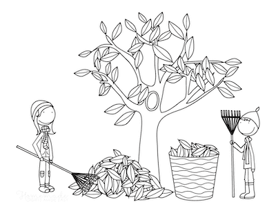 Fall Coloring Pages Sweeping up Fallen Leaves Into Basket