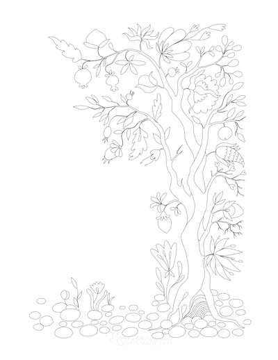 Fall Coloring Pages Tree Leaves