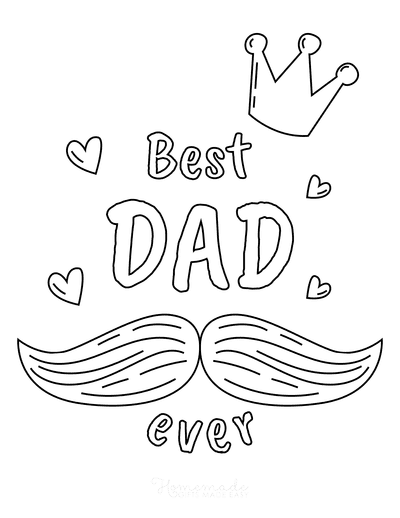 Fathers Day Coloring Pages Best Dad Ever Mustache Crown