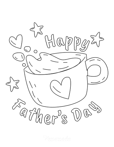 Fathers Day Coloring Pages Cup Coffee Hearts