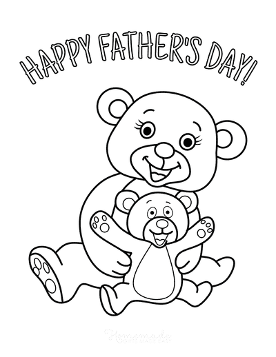 Fathers Day Coloring Pages Cute Bears
