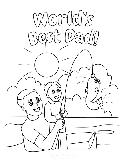 Fathers Day Coloring Pages Dad Son Fishing Worlds Best Dad