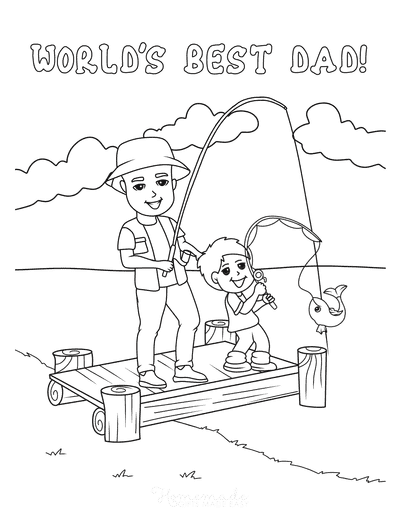 Fathers Day Coloring Pages Father Son Fishing