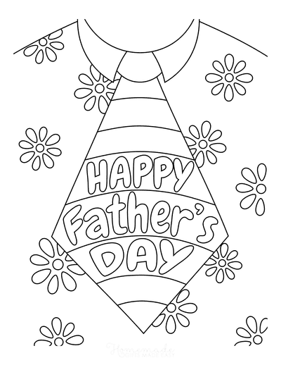 Fathers Day Coloring Pages Flower Shirt Tie