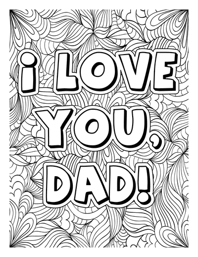 Fathers Day Coloring Pages I Love You Dad for Adults