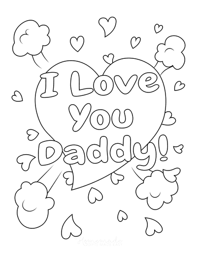 Fathers Day Coloring Pages I Love You Daddy Hearts