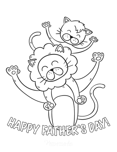Fathers Day Coloring Pages Lion Cub