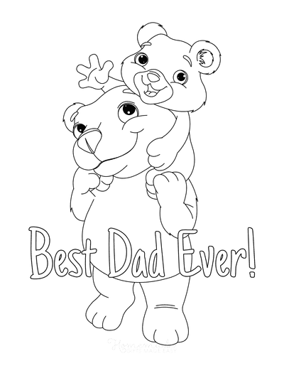 Fathers Day Coloring Pages Daddy Bear